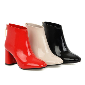 Image 5 - MORAZORA 2020 أحدث النساء حذاء من الجلد مربع عالية الكعب الخريف الشتاء الأحذية الكريستال مشبك موضة أحذية حفلات الزفاف امرأة