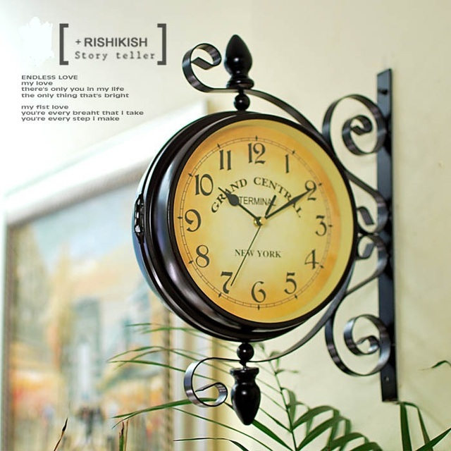 Antique Replica Iron Double Face Wall Hanging Clock Decor Metal Craft Embellishment Accessories for Home, Pub and Art Collection