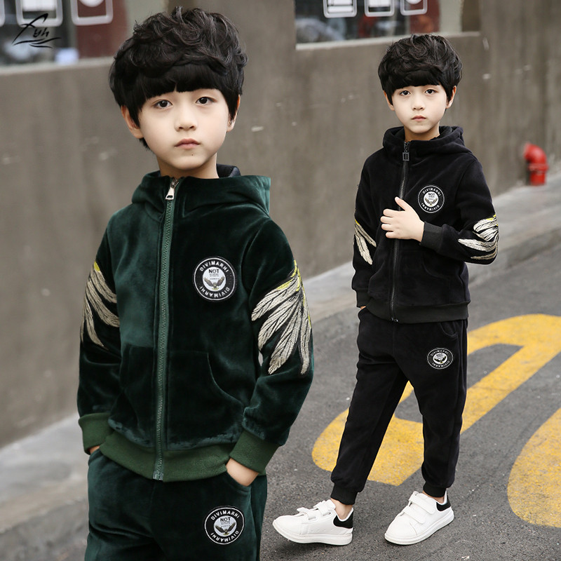 FYH New Kids Clothing Winter Boys Warm Thicken Suit Children Clothing Set Gold Velvet Set School Boys Hooded Sweatshirt+Pants fyh kids clothes winter boys clothing set warm velvet suit two pieces hooded sweatshirt pants children costumes sports tracksuit