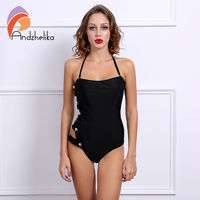 Summer Sexy Black One Piece Swimsuit Button Bandage Hollow Out Swimwear Beachwear High Waist Swimsuit Bathing