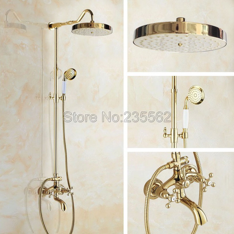 Wholesale And Retail Promotion Luxury Gold Brass Shower Faucet Rain Shower Head + Bathroom Tub Faucet + Hand Shower lgf712