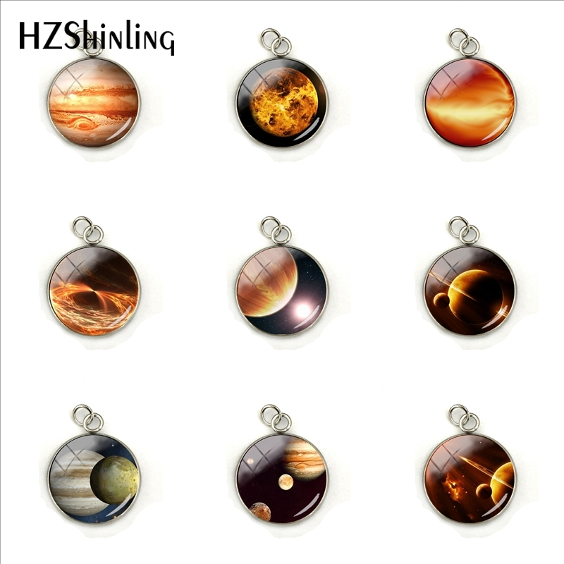 Planet Jupiter Orange Glass Picture Pendant Handmade Mens Womens Jupiter Glass Cabochon Necklaces Charms Jewelry Gift