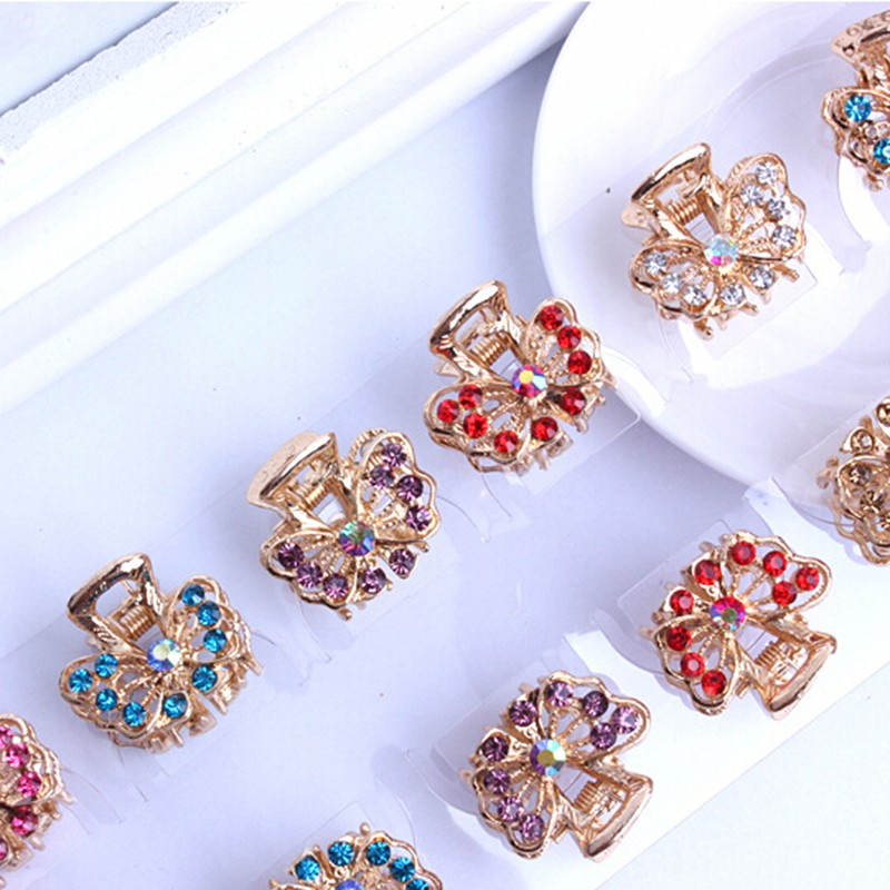 Mini Butterfly Headwear Crystal Flower Clamp Hair Clip Decor Hair Pins Claw Fashion Hairwear for Girls Valentine's Day Gift