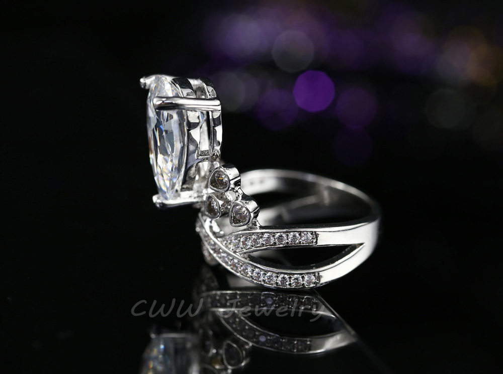 CWWZircons Famous Designer Women Jewelry Big Oval Cut Cubic Zirconia Wedding Engagement Rings For Brides R070