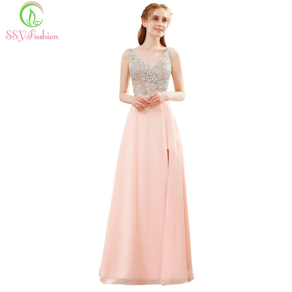 SSYFashion Evening Dress The Bride Banquet V-neck Sleeveless Sequins ...
