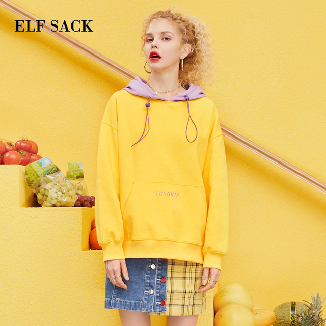 ELF SACK 2019 Spring New Woman Cotton Sweatshirts Full Letter Knitted Ladies Pullovers Patchwork Oversized Hooded Femme Hoodies