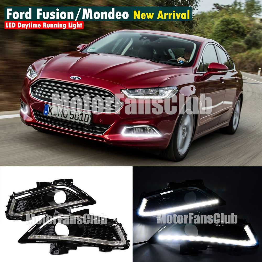 New LED Daytime Running Light For Ford Fusion Mondeo Fog Lamp DRL 2013 2014 2015 white ice blue led daytime running lights drl fog lamp cover with yellow turn light for ford fusion mondeo 2013 2014 2015 2016