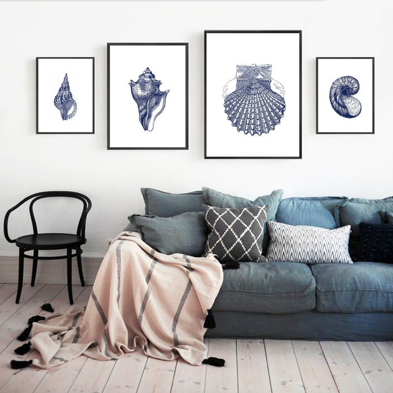 Indigo Blue Wall Art.Hampton Style Wall Art Prints Posters Coastal Sea Shell Canvas Painting Picture Vintage Illustration Navy Indigo Blue Decoration