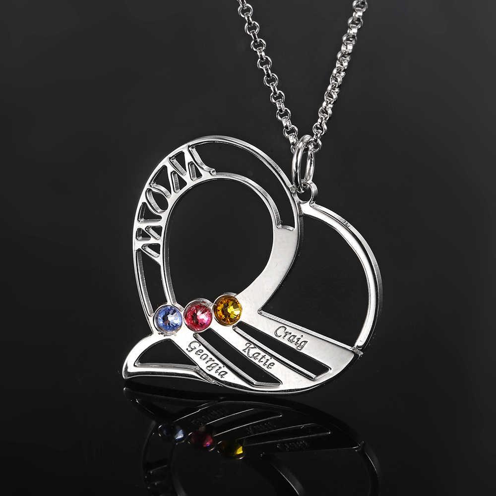 L11 חקוק מותאם אישית שמות שרשרת אישית שרשרת נשים 925 כסף מותאם אישית שרשרת אבן המזל תכשיטי משפחת מתנה