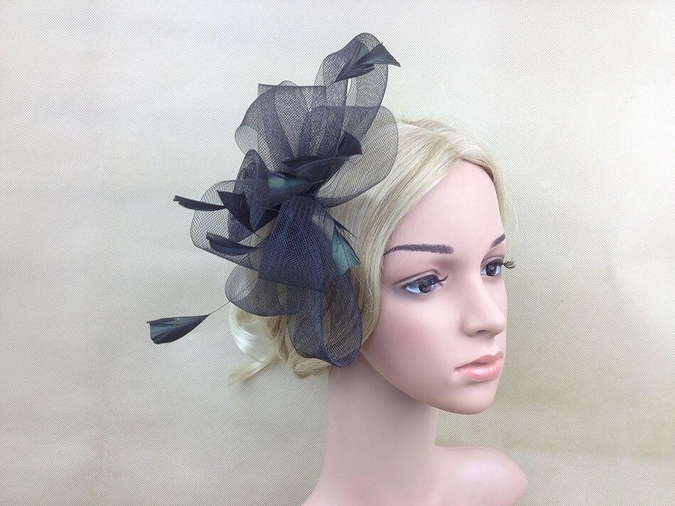 Grand Paillettes Noir Bord Rose Fleur cheveux bande élastique et Bec Clip Fascinator