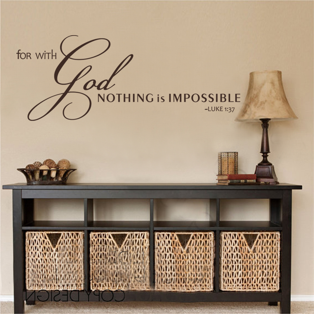Scripture Wall Decal For With God Nothing Is Impossible Christian Sticker  Bible Verse Sticker 56cm X