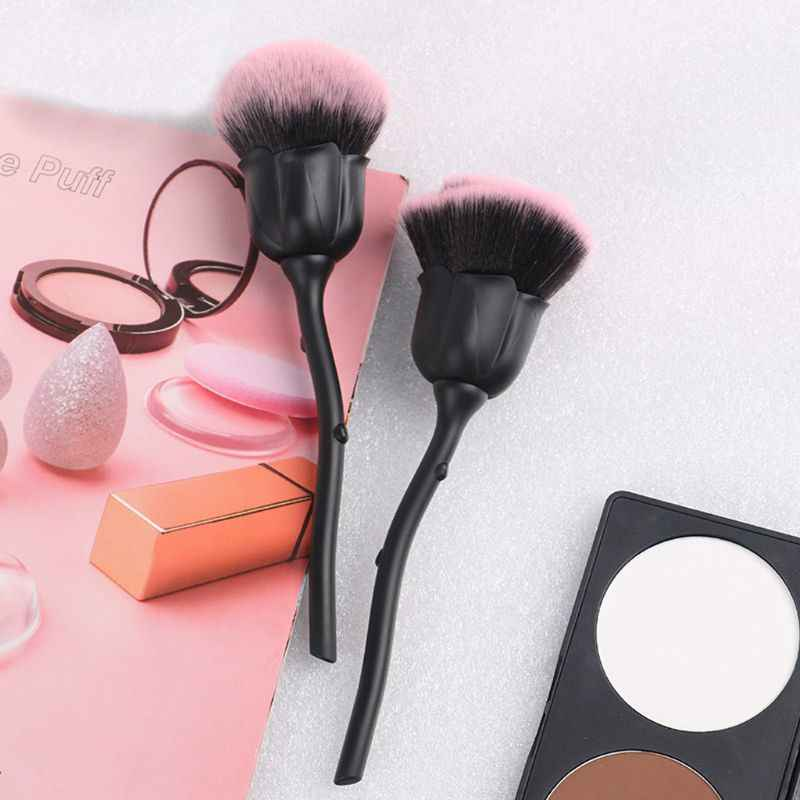 Pro Rose Bunga Kabuki Makeup Brush Set Kosmetik Bubuk Foundation Alat
