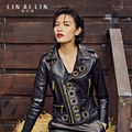 2017 Women's Leather Jacket Short Coat Golden Rivet Motorcycle Jacket Sheep Skin