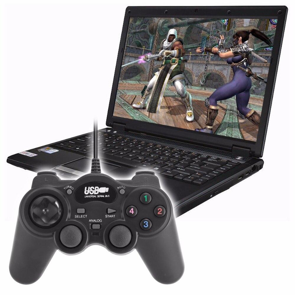 SOONHUA Joystick Wired USB Joystick PC Controller Shock Joypad Gamepads For PC Computer Laptop Black Game Controller Gamepad