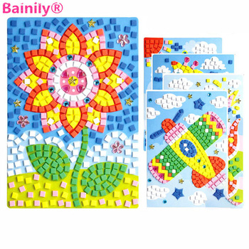 1pcs 12 Styles Can Be Choose Lot 3D Mosaics Puzzle Creative Sticker Game Animals Transport Arts Craft for Kids Educational Toy 1