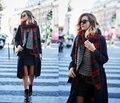 Za 2015 marca mujeres de cachemira bufanda a cuadros de gran tamaño doble cara a cuadros multifunción espesar mantón del cabo caliente regalo
