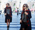 Za 2015 mulheres marca de Cashmere lenço da manta de grandes dimensões dupla face xadrez Multifunction engrosse quente xale capa presente