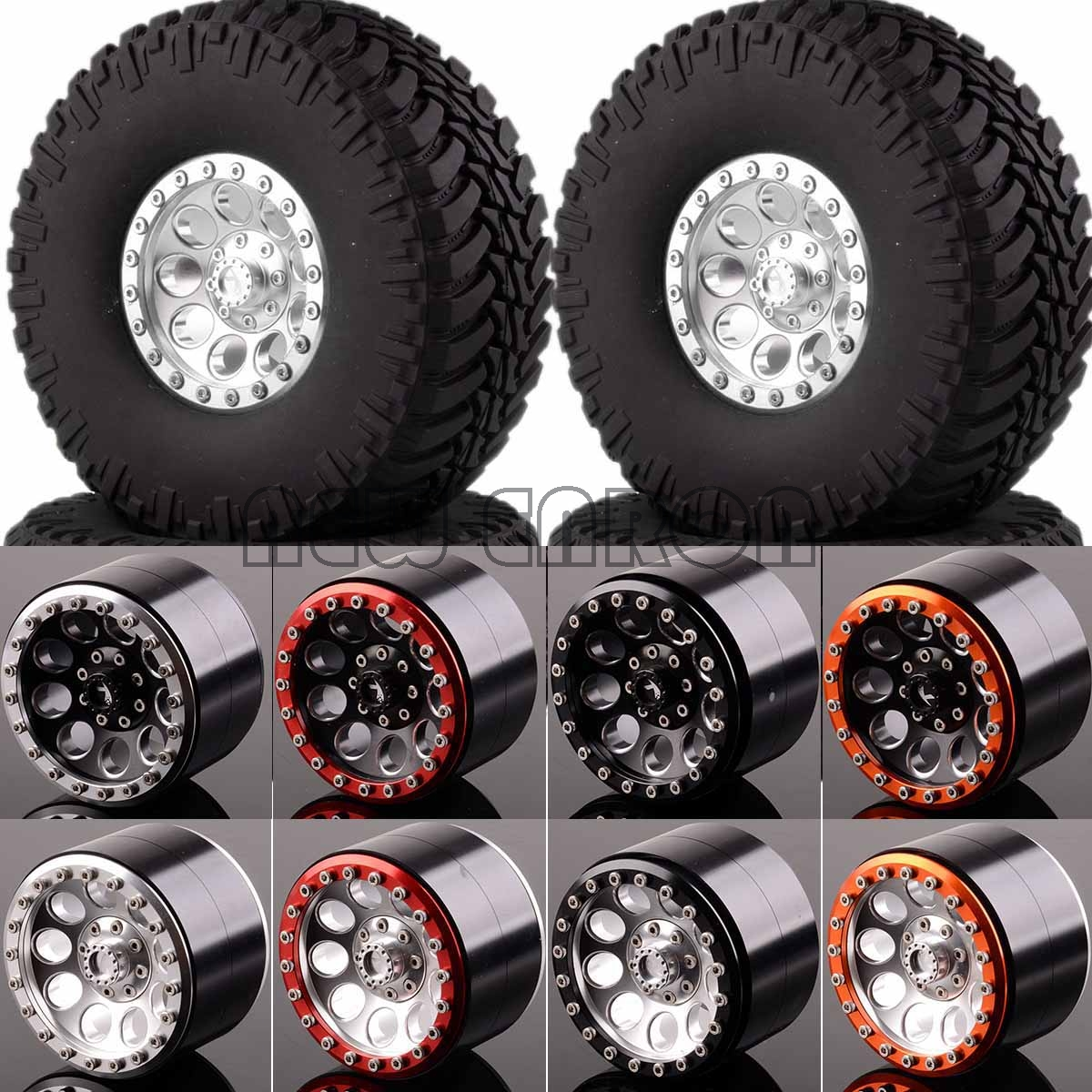 NEW ENRON 2.2 Beadlock Wheels & Tires 2020-3033 FOR 1/10 Crawler AXIAL Traxxas Tamiya HPI mxfans rc 1 10 2 2 crawler car inflatable tires black alloy beadlock pack of 4