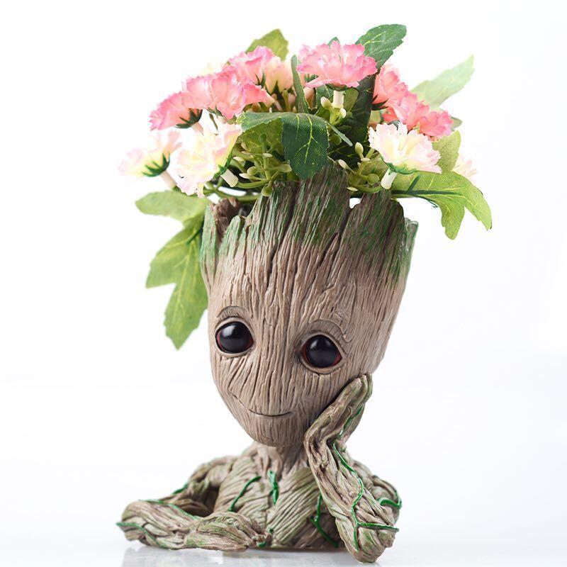 Grootted Planter Pot Baby Flowerpot Action Figures Toy Pen Pot PVC Hero Model Guardians Of The
