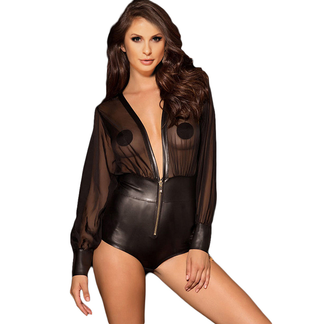 8988061800 Zipper deep v neck sexy bodysuit PU leather long sleeve bodysuit plus size rompers  womens jumpsuit mesh summer overalls RW80594