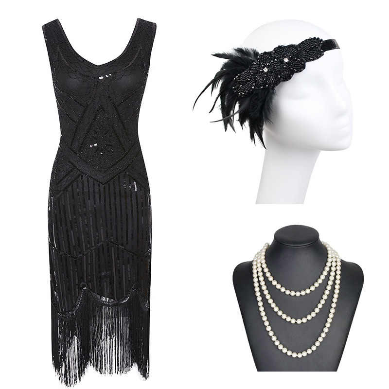 1920s Gatsby Sequin Fringed Paisley Flapper Dress with 20s Accessories Set xs,s,l,m,xl,xxl