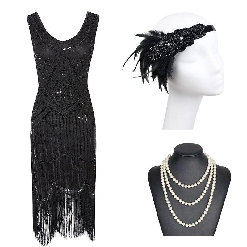 1920s Gatsby Pailletten Fransen Paisley Flapper Kleid mit 20s Zubehör Set xs, s, l, m, xl, xxl