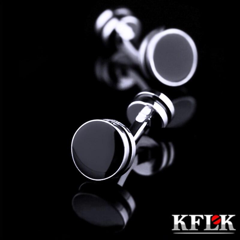 KFLK 2017 Luxury shirt cufflinks for mens Brand cuff buttons fashion cuff links High Quality Black gemelos abotoaduras Jewelry