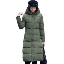 Alta calidad 2018 soporte collar mujeres invierno largo con capucha con un sombrero caliente espesar chaqueta para mujer sólido acolchado femenino parka