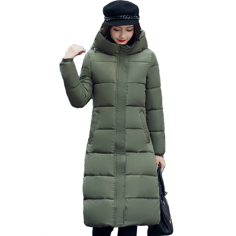 High Quality 2019 Stand Collar Coat Women Winter Long Hooded With A Hat Warm Thicken Womens Jacket Solid Padded Female Parka
