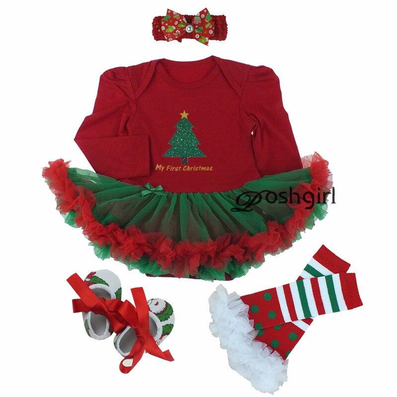 Christmas Dress 2019 Baby Girl Dress 4pcs/set Outfit Jupersuit Clothing Babies Bebe Dress + Shoes+socks+hairband Newborn Clothes