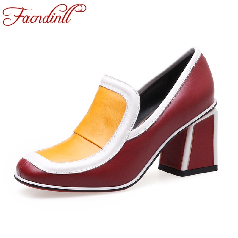 FACNDINLL 2018 new fashion women pumps genuine leather square high heels spring summer shoes woman dress party office lady pumps xiaying smile summer new woman sandals platform women pumps buckle strap high square heel fashion casual flock lady women shoes
