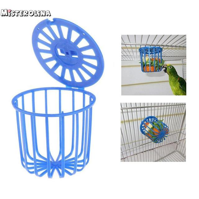 Bonito Pássaro Papagaio Gaiola Alimentador de Frutas Vegetais Titular Acessórios Gaiola Cesta de Suspensão Recipiente Brinquedos Pet Fornecimentos de Aves PAM9858