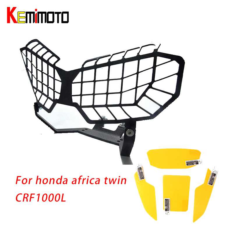 KEMiMOTO for Honda Africa Twin CRF1000L Motorcycle Headlight Lens Guard Protector 2016 CRF 1000L Africa Twin Film screen sticker kemimoto for honda 2016 africa twins crf 1000l motorcycle headlight lens guard roof protection for honda crf1000l africa twin
