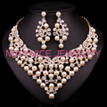 New Luxury Bridal Gold Plated Pearl Jewelry Sets Wedding Necklace Earring For Brides Party Prom Accessories Gift Women