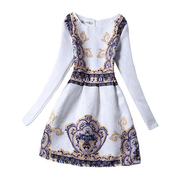 Vestidos de Las Muchachas al por menor 2017 Moda Foral Imprimir Vestido de Niña de Largo Vestido de la manga de La Princesa Vestido de 13-20 años tamaño Grande Niñas ropa