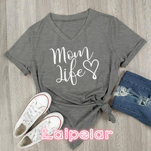 2018 Summer Casual T shirt Female Tee Loose Tops Fashion Women T-Shirts Mom Life Letter Printed V-Neck Short Sleeve