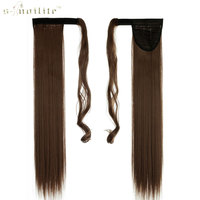 SNOILITE 26inch Long Ponytail Clip In Pony Tail Hair Extensions Wrap On Hairpieces Straight Hairstyles