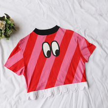 2019 European woman cute eyes T-shirt red printed striped stitching shirt T stage show wave hem round neck short-sleeved T-shirt blue splited design round neck irregular hem t shirt