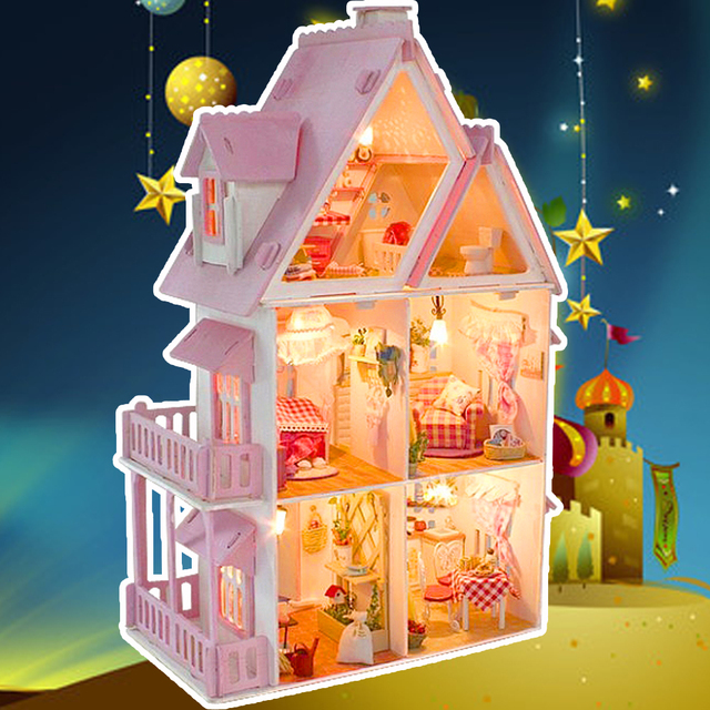 Wooden Dollhouse Fashion Pink Dollhouse Furniture Girls Toy Diy Home