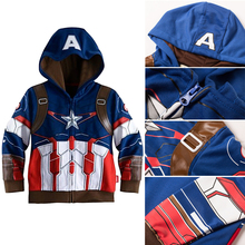 2016 new baby boys spring/fall coats jackets for boys hooded baby clothing kids Captain America coats children free shipping