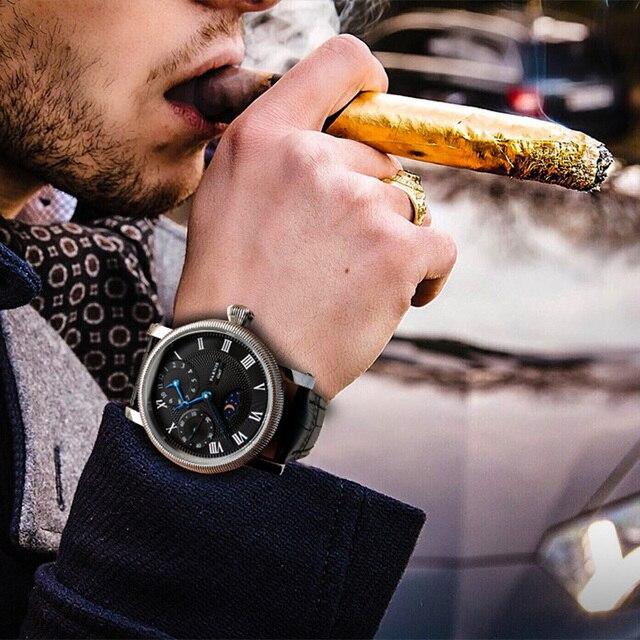 Parnis ręcznie nakręcany męski zegarek PVD Case niebieskie dłonie biała tarcza czarny skórzany pasek męskie mechaniczne ręczne nakręcanie zegarki prezent dla mężczyzn