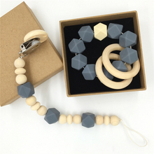Wood Pacifier Clip Organic Wood Montessori Toy Gray Silicone Beads Teether Wooden Baby Teether Ring Infant Teether BPA Free