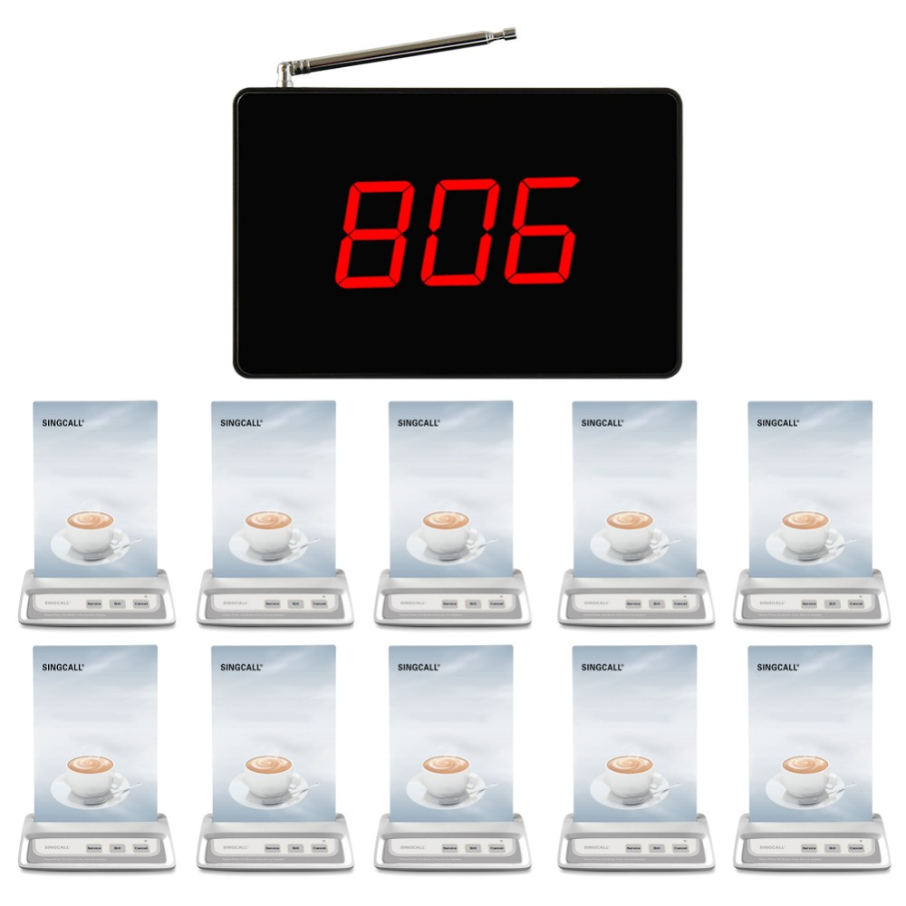 SINGCALL Wireless Restaurant Waiter Calling System, call systems technology,  1 fixed table receiver and 10  customers bells wireless table call bell system k 236 o1 g h for restaurant with 1 key call button and display receiver dhl free shipping