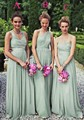 Vestidos De Dama De Honor Long One Shoulder Bridesmaid Dresses Mint Green Chiffon 2015 High Quality Long Elegant Bridesmaid Gown