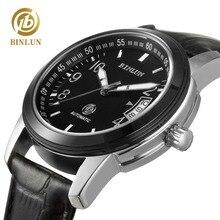 BINLUN Original Design Dial Mechanical Mens Watch Luxury Automatic Luminous Watch Genuine Leather Men Mechanical Watch Waterpoof