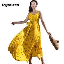Фотография Ryseleco 2018 Summer Boho Beach Backless Bow Ties Prints Chiffon Dresses Women Spaghetti Strap Big Swing High Slit Slip Vestidos