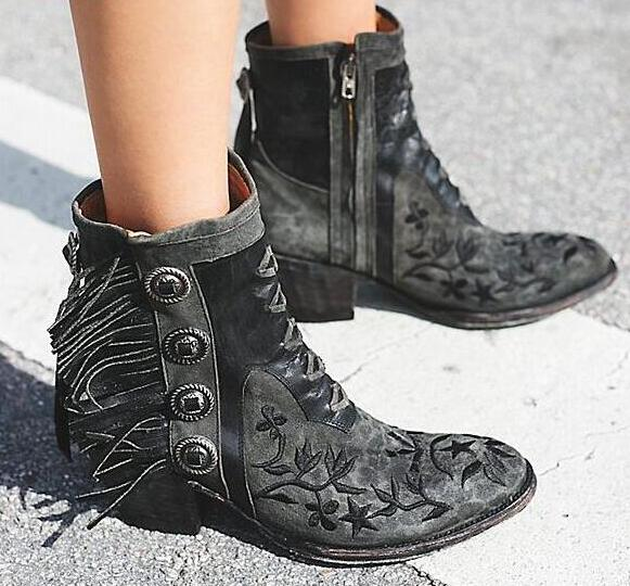 Free Style Embroidery Flowers Women Point Toe Ankle Boots Fashion Fringe Side Ladies Knight Boots Female Spring Western Boots a three dimensional embroidery of flowers trees and fruits chinese embroidery handmade art design book