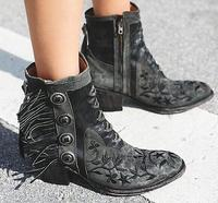 Free Style Embroidery Flowers Women Point Toe Ankle Boots Fashion Fringe Side Ladies Knight Boots Female Spring Western Boots