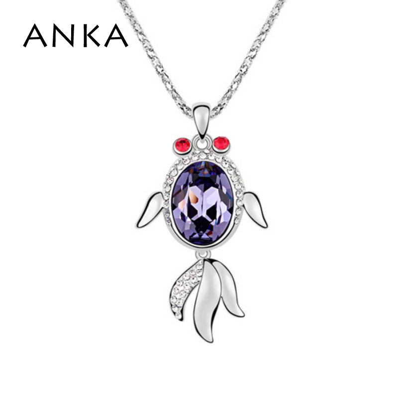 Factory Wholesale Crystal From Austria water drop Fish pendant Necklace fashion jewelry women #92884