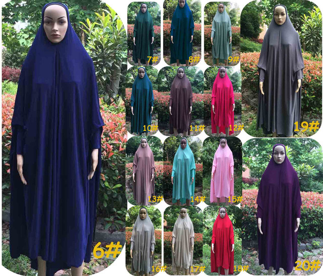 20COLORS Popular style Plain Muslim prayer Clothing big size hijab Khimmar Long Khimars with sleeves